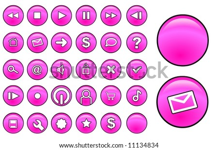 Pink glass buttons