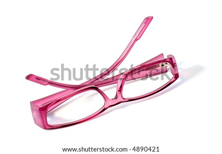 Pink glasses isolated on white. - stock photo