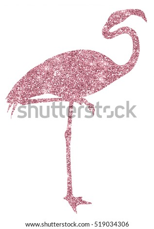 Pink Glitter Flamingo Sparkly Silhouette
