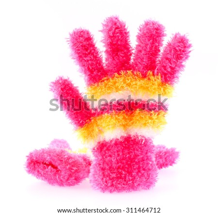 pink glove for winter isolated on white background