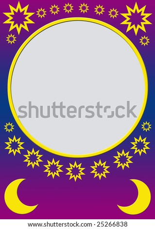 pink gradient background with golden stars and moons and a round frame for filling with content