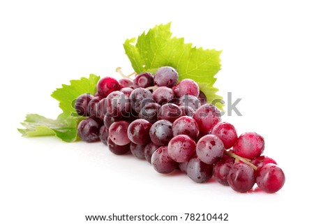 Pink grape cluster isolated on white - stock photo