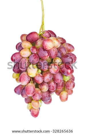 Pink grape isolated on white background - stock photo