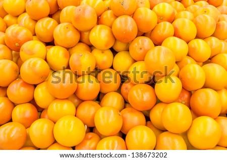 Pink Grapefruit Background In Market Display - stock photo