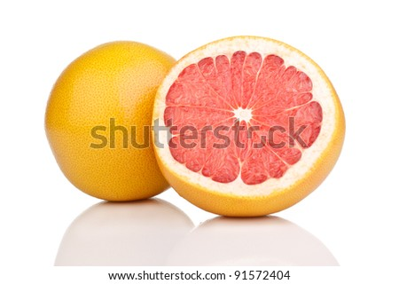 Pink grapefruit on a white background.