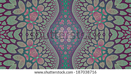 Pink, green and blue colored abstract high resolution fractal background with a detailed leafy organic looking pattern and a central rhomboid decorative pillar