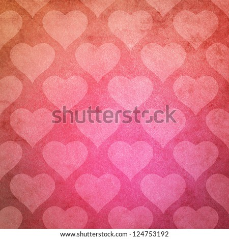Pink Grunge Texture Paper Background with Heart Pattern for Valentine's Day - stock photo