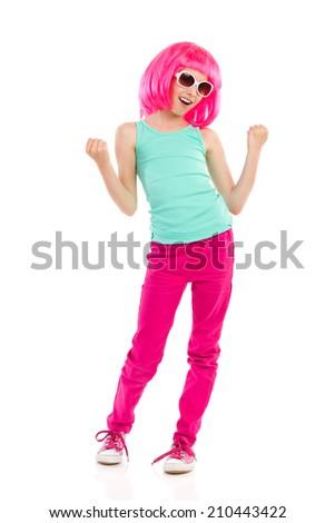 Pink haired girl in sunglasses shouting. Full length studio shot isolated on white. - stock photo