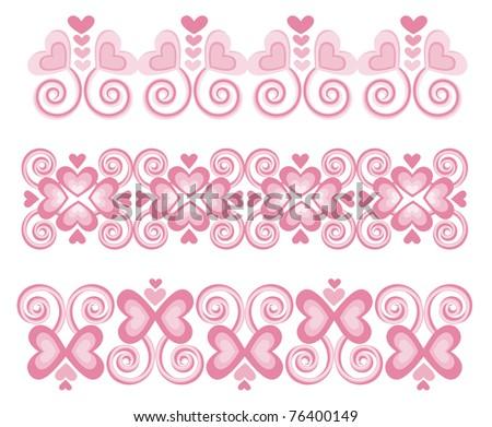 Pink Heart Borders 1  - Raster Version - stock photo