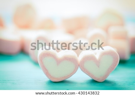 Pink heart shape marshmallow for love theme and Valentine concept. You can apply for background,backdrop,wallpaper including website decor and artwork design. - stock photo