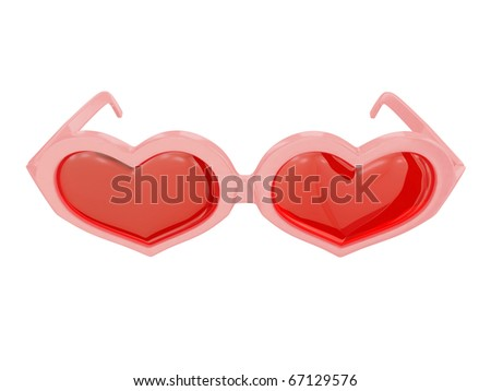 Pink heart-shaped glasses . Isolated on white background.3d rendered.
