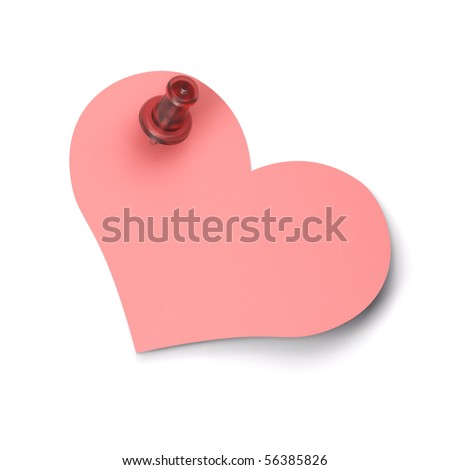 Pink heart shaped note fixed on a white wall with a red pushpin - stock photo