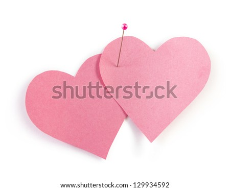 pink heart shaped post it note, clipping path included - stock photo