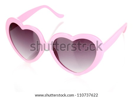 Pink heart-shaped sunglasses isolated on white - stock photo