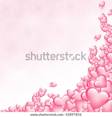 Pink hearts background for a Valentine's card - stock photo