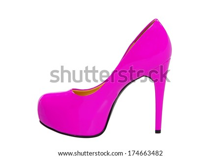 pink high heeled woman shoe isolated on white background - stock photo