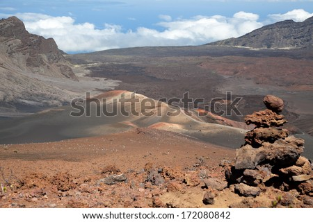 Pink hills in Haleakala National Park, Maui, Hawaii. - stock photo