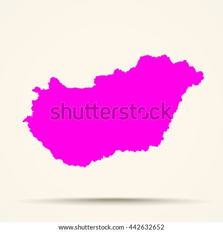 Pink Hungary Map Illustration