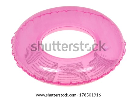 Pink inflatable round tube isolated on white. Clipping path inside. - stock photo