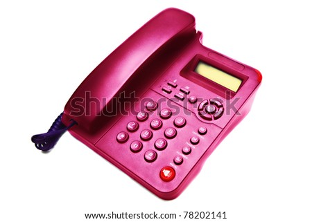 pink IP  phone closeup isolated on white background - stock photo