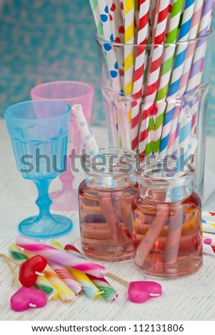 Pink Juice and colorful straws for a party