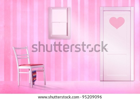 pink kids room. kids room with a pink locker. - stock photo