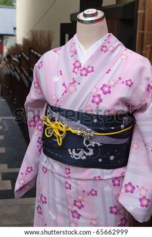 pink kimono in kyoto ,Japan - stock photo