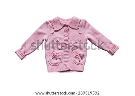 Pink knitted baby jacket isolated over white - stock photo