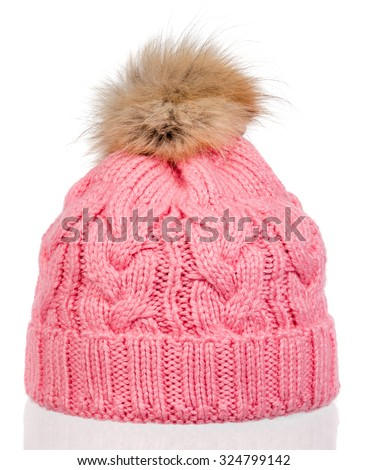 pink knitted wool hat with isolated on white background - stock photo