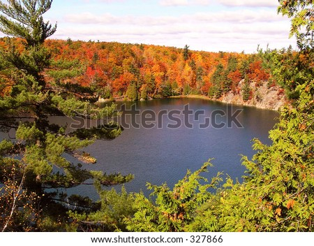 Pink Lake in October - stock photo