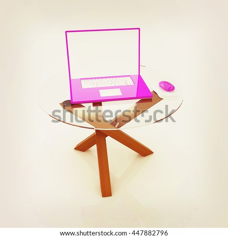 pink laptop on an exclusive table on a white background. 3D illustration. Vintage style. - stock photo