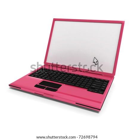 pink laptop on white background - stock photo