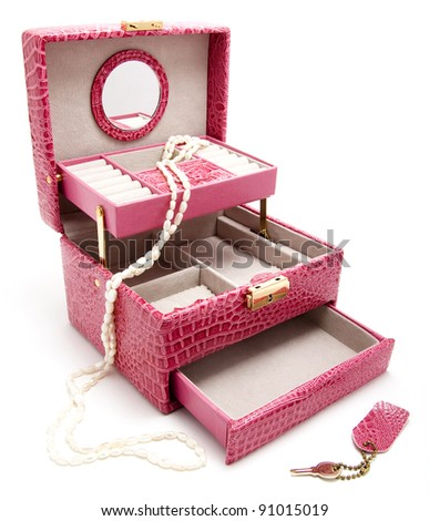 pink leather box for cosmetic or jewelery