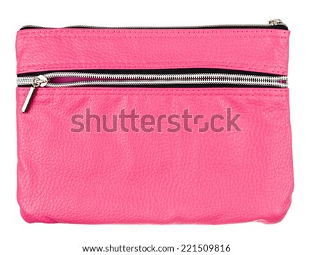 pink leather case isolated on white background - stock photo
