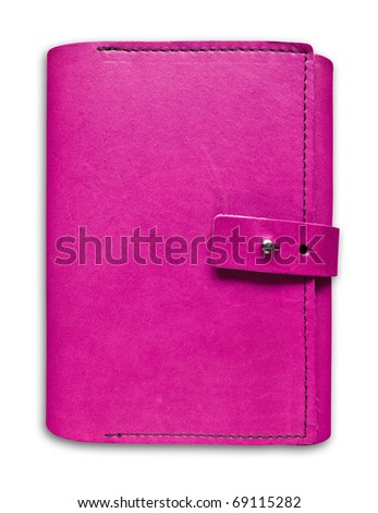 pink leather case notebook isolated on white background - stock photo