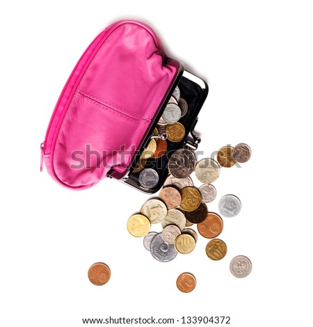 Pink leather purse and several different coins on white background - stock photo