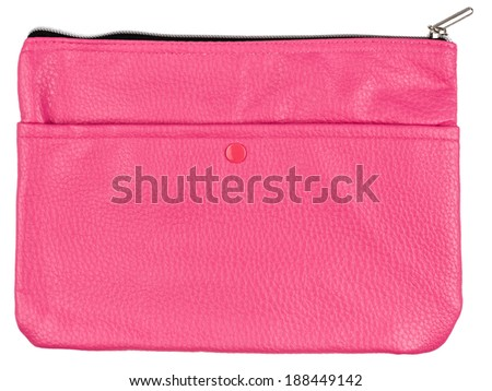 pink leather wallet isolated on white background - stock photo