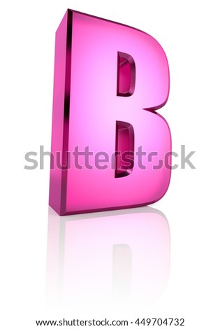 Pink letter B isolated on white background. 3d rendering - stock photo