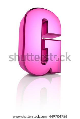Pink letter G isolated on white background. 3d rendering - stock photo