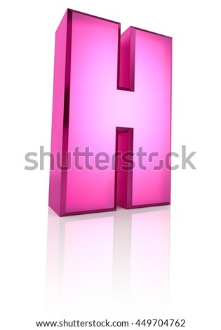 Pink letter H isolated on white background. 3d rendering - stock photo