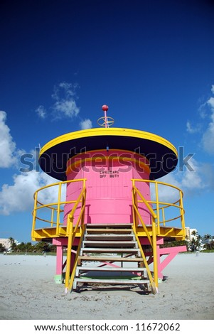 Pink Lifeguard Tower in South Beach before Opening - stock photo