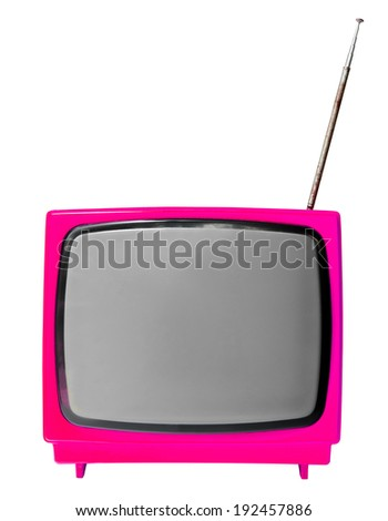 Pink light vintage analog television isolated over white background, clipping path. - stock photo