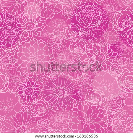 Pink line art floral texture seamless pattern background raster