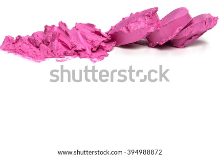 Pink lipstick on a white background close-up.