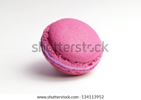 pink macaroon isolated on white - stock photo
