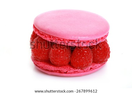 pink macaroon with raspberry - stock photo