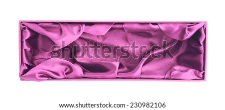 Pink magenta colored opened tall gift box with the velvet cloth inside, isolated over the white background - stock photo