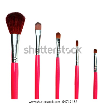 pink makeup brushes - stock photo