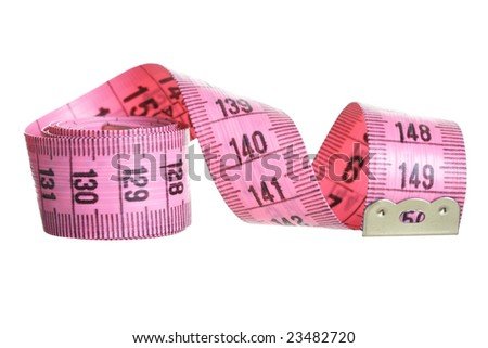 Pink measuring tape isolated over white background - stock photo