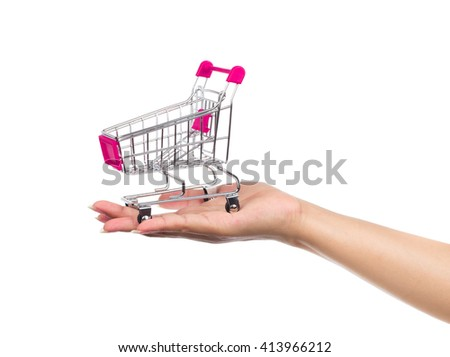 pink Metal trolleys for shopping Isolated on white background